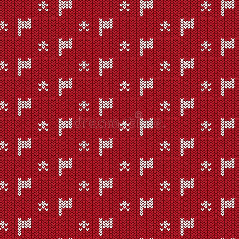 Red And White Flag With Star Knitting Pattern Background Stock