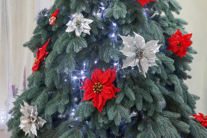 Red and white flowers on the fir tree. Red and white flowers on the Christmas tree stock images