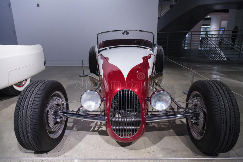Red and white 1927 Ford Roadster. Los Angeles, CA, USA — April 16, 2016: Red and white 1927 Ford Roadster reproduction by Roy Brizio's Street Rods royalty free stock photography