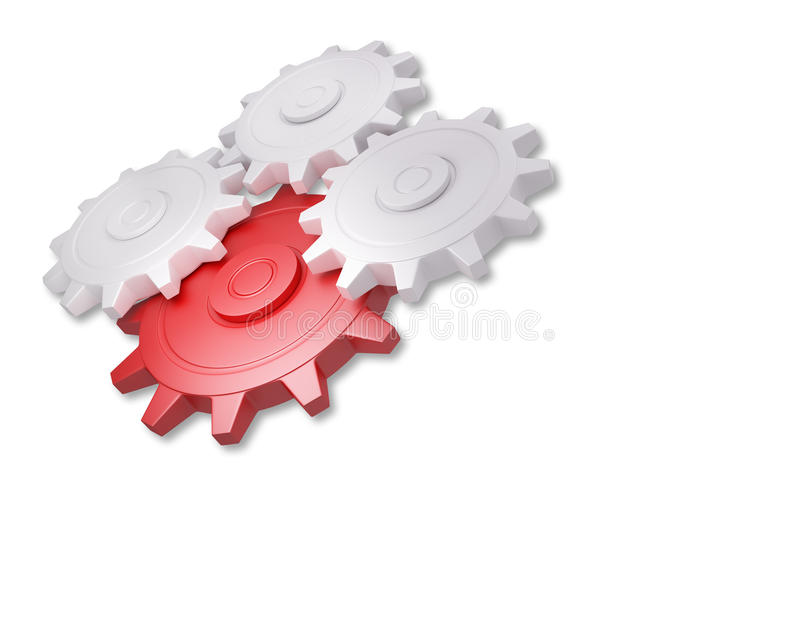 Red and white gear royalty free illustration
