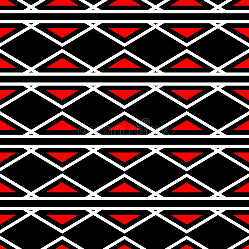 Red and white geometric designs. Seamless black background. For textile, fabrics, wallpapers royalty free illustration