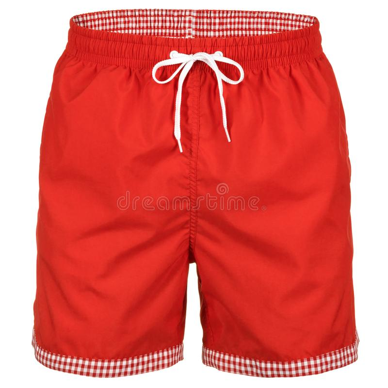 Red and white with grid pattern men shorts for swimming. Isolated on white background royalty free stock photography