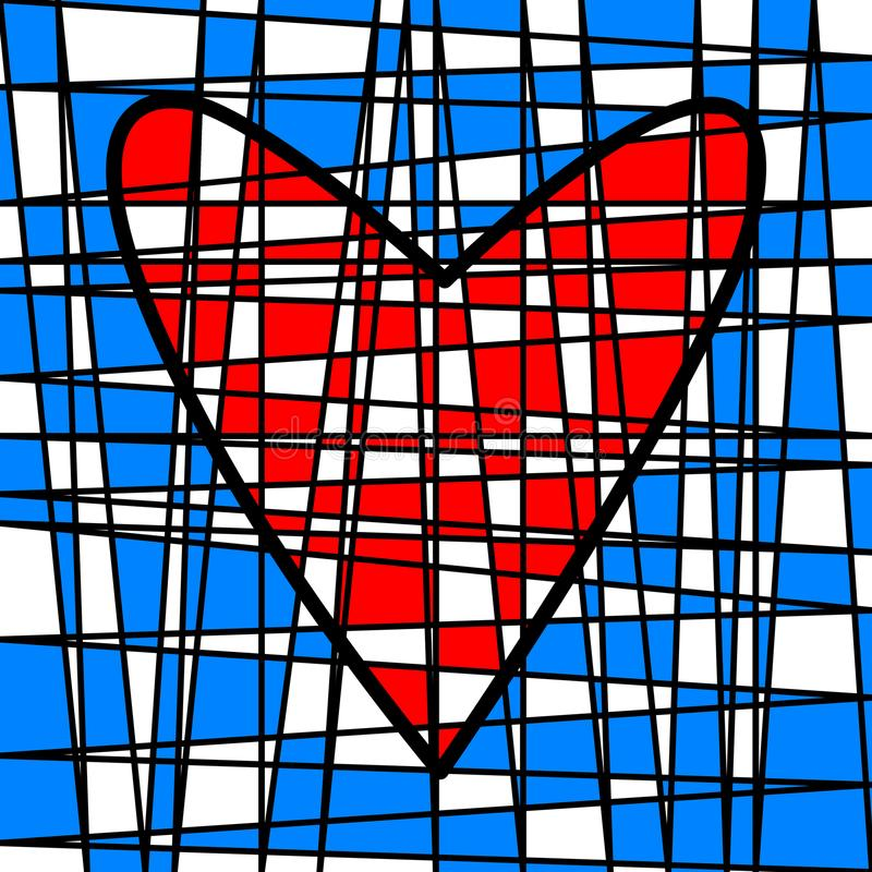 Heart colorful tiled patchwork. Colored plot royalty free illustration