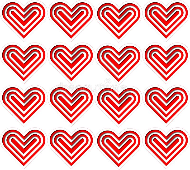 Red and white heart pattern. A square pattern made of layered red and white hearts, papercut style, on white background. Illustration art stock illustration