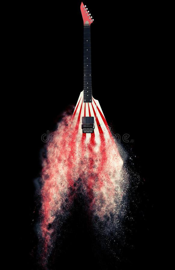 Red and white heavy metal guitar dissolving into dust royalty free stock photo
