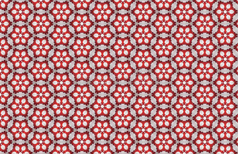 Red White Hexagon Abstract Large Pattern Design royalty free illustration
