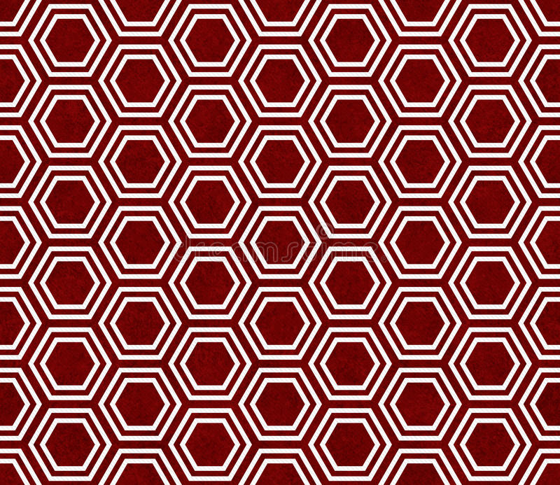 Red and White Hexagon Tile Pattern Repeat Background. That is seamless and repeats stock image