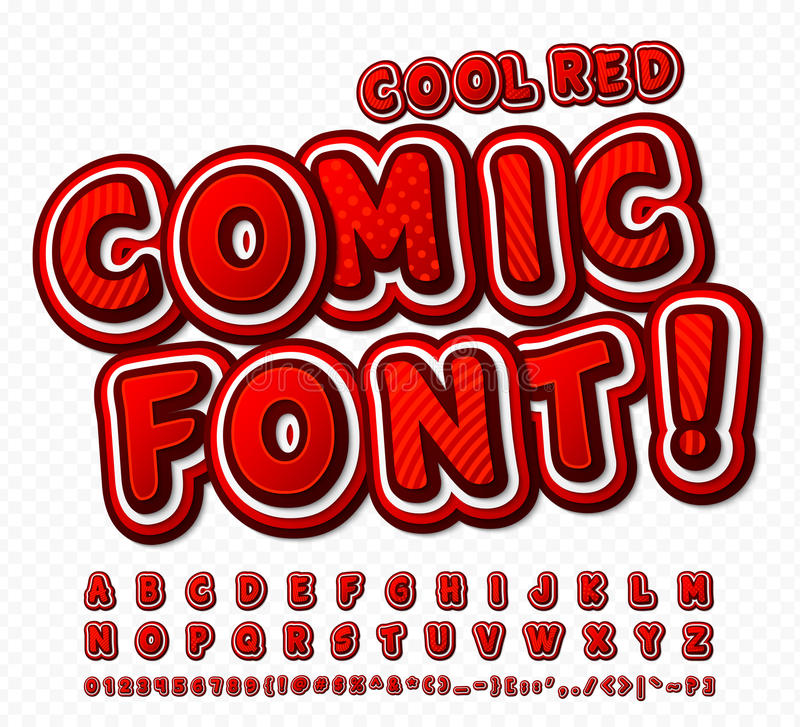 Red-white high detail comic font, alphabet. Comics, pop art stock illustration