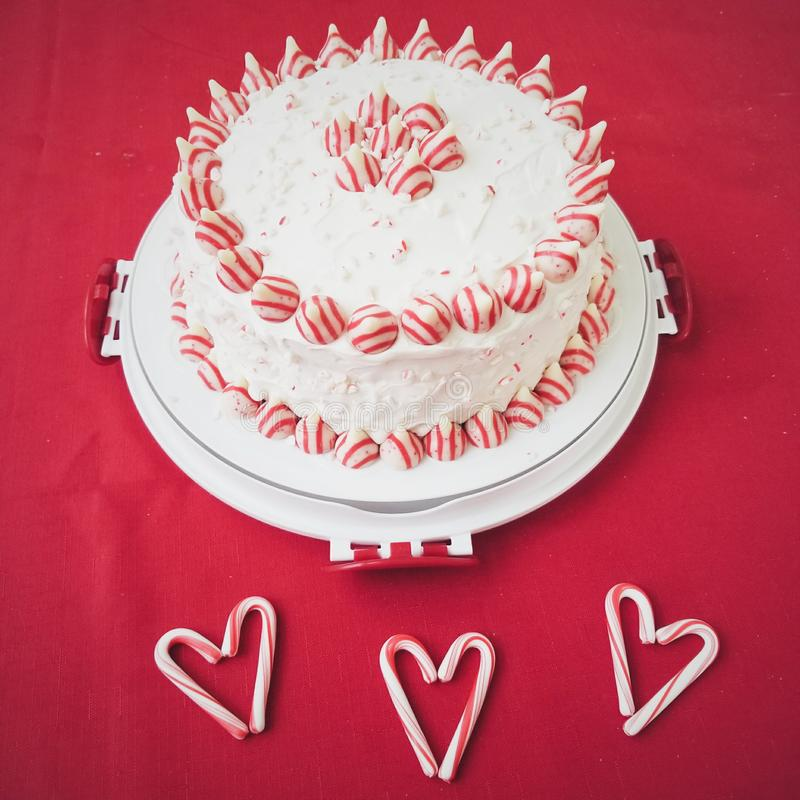 Red And White Holiday Christmas Cake royalty free stock photo