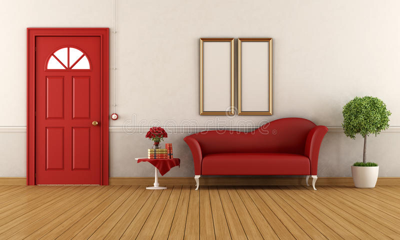 Red and white home entrance stock illustration