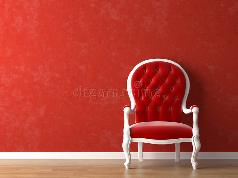 Red and white interior design vector illustration