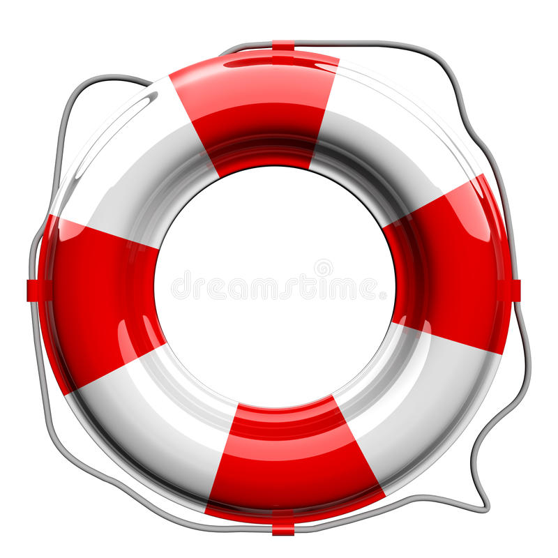 Red and white lifebelt vector illustration