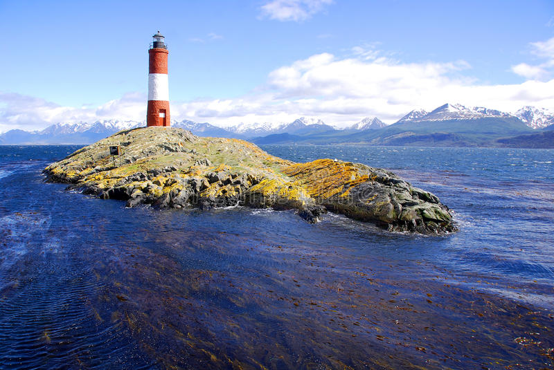 Red and white lighthouse. In blue sky in the Beagle Channel Ushuaia Patagonia Argentina stock photography