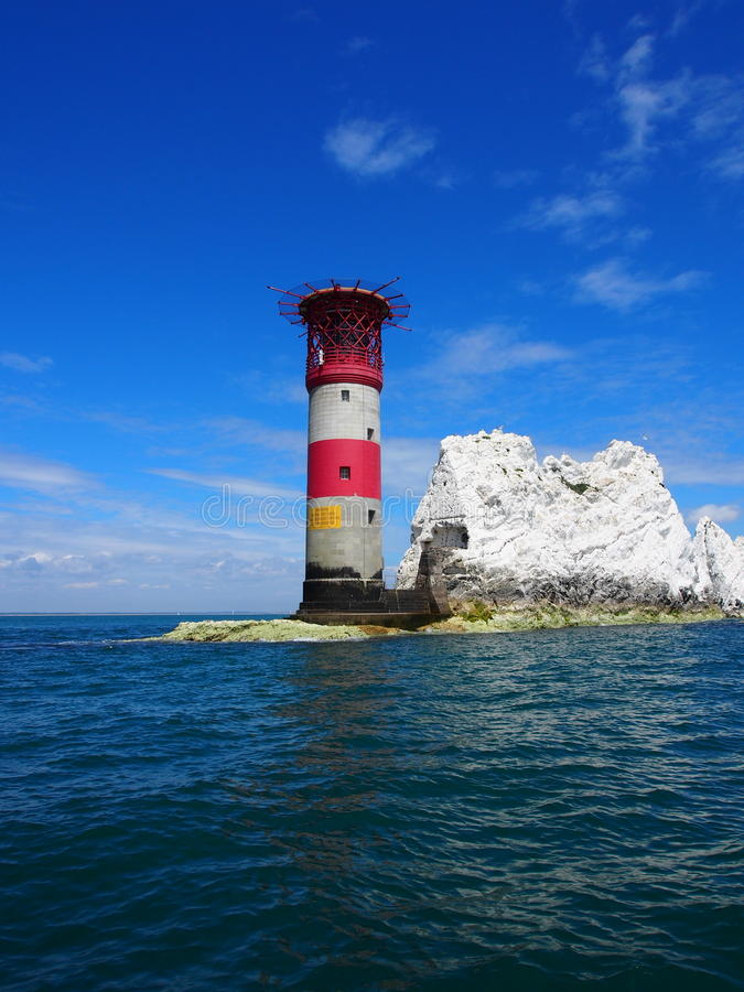 Red and white lighthouse royalty free stock image