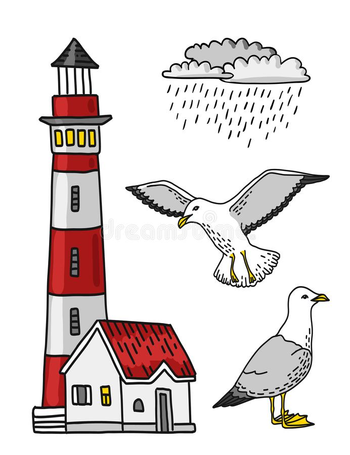 Red and white lighthouse, rain cloud and seagull, vector colored lineart royalty free illustration