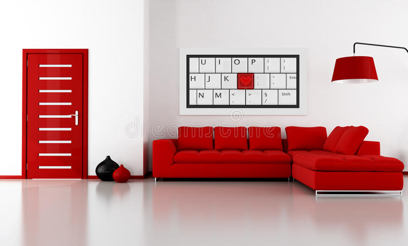 Red and white lounge stock illustration