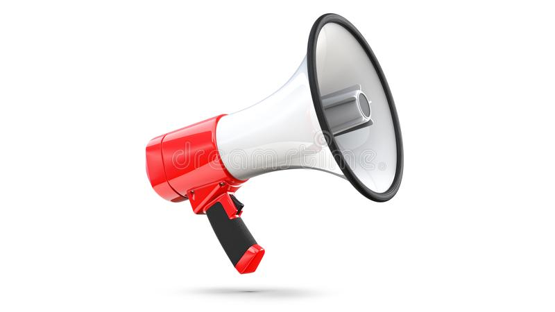 Red and white megaphone isolated on white background. 3d rendering of bullhorn, file contains a clipping path to. Isolation royalty free illustration