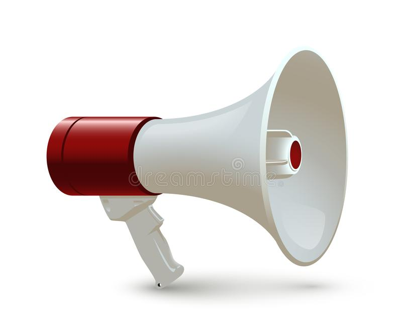 Red and white megaphone isolated on white background. Vector realistic 3d bullhorn. stock illustration
