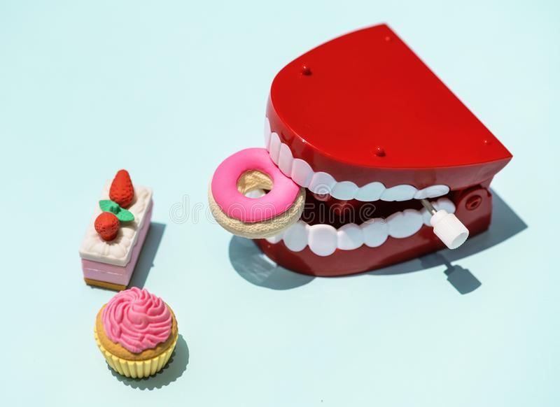 Red and White Mouth Plastic Toy and Food Plastic Toys stock photos
