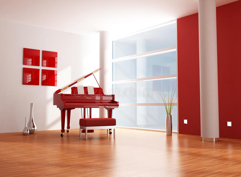 Red and white music room royalty free illustration