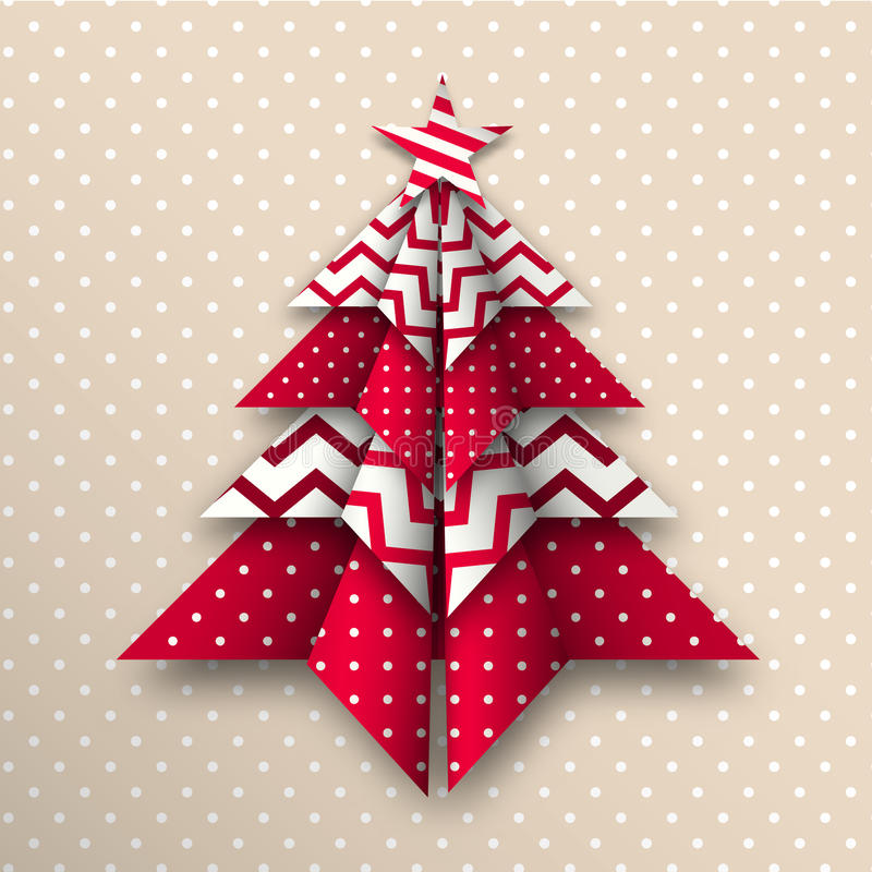Red and white origami christmas tree, holiday theme, illustration vector illustration