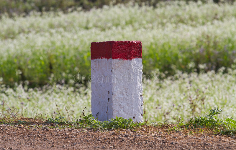 Red and white painted milestones. In range on a country road under the sunlight royalty free stock photography