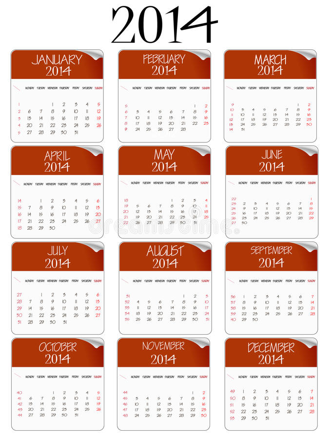 Download Red And White Paper Calendar 2014 Stock Vector - Image: 32413531