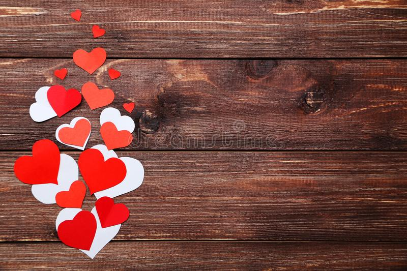 Red and white paper hearts royalty free stock photos