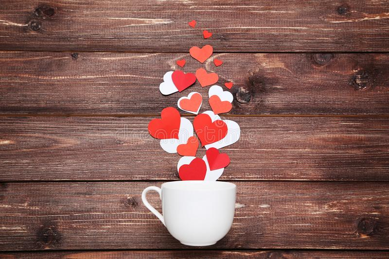 Paper hearts with cup stock photos