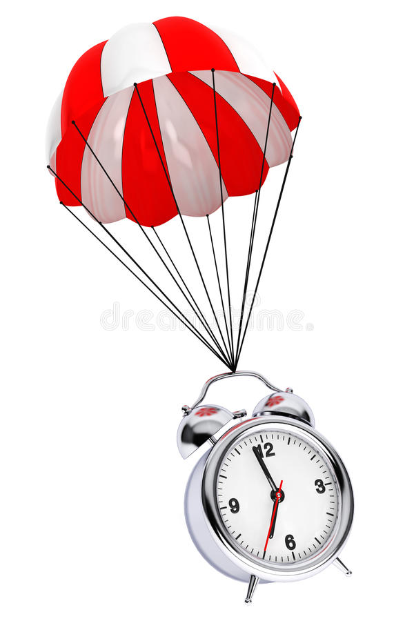Red and White parachute with Alarm Clock. 3d Rendering royalty free illustration