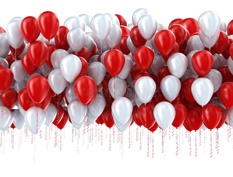 Red and white party balloons stock photo