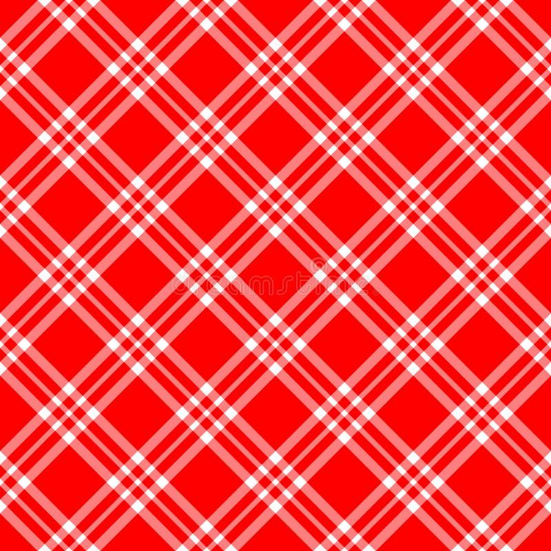 Red White Plaid Diagonal royalty free illustration
