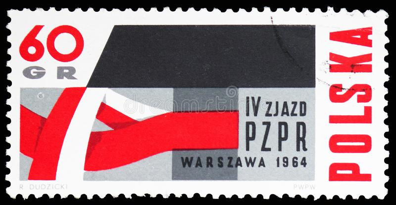 Red and White Ribbon around Hammer, 4th Congress of the Polish United Workers Party serie, circa 1964. MOSCOW, RUSSIA - FEBRUARY 10, 2019: A stamp printed in royalty free stock photos