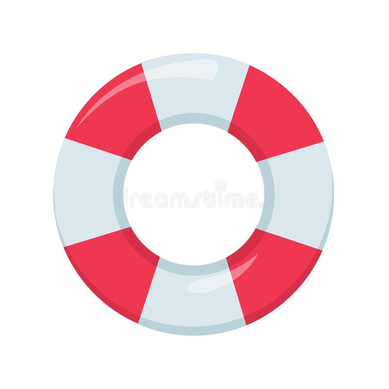 Red and White Ring Float. Beach buoy colorful symbol. Lifeguard device elemnt for emergency situation. stock illustration