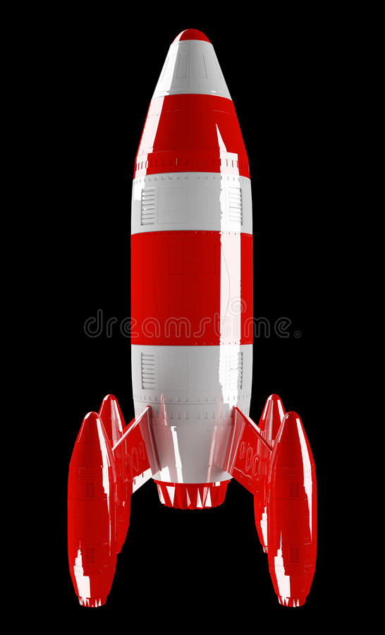 Red and white rocket launching 3D rendering. On black background vector illustration