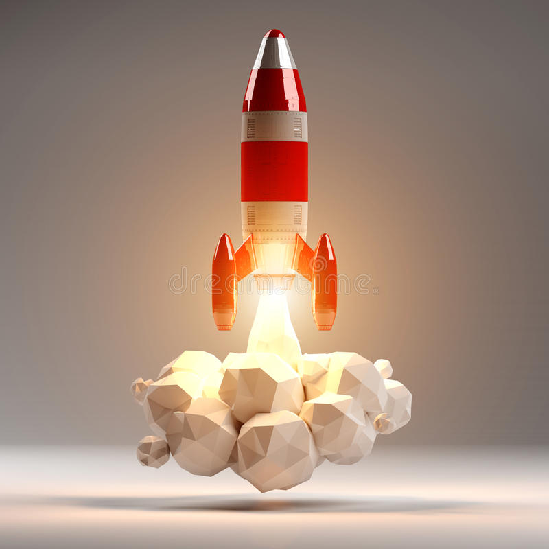 Red and white rocket launching 3D rendering. On grey background stock illustration