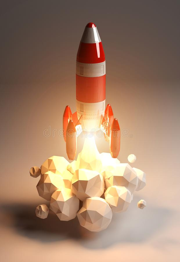 Red and white rocket launching 3D rendering. On grey background royalty free illustration