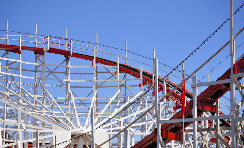 Red and White Rollercoaster One royalty free stock image