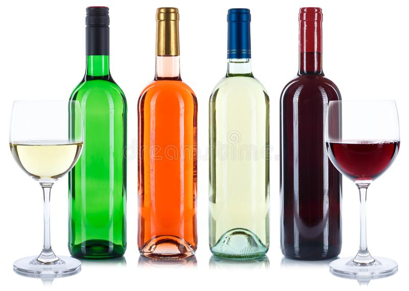 Red and white rose wine bottles beverage wines collection isolated on white royalty free stock images