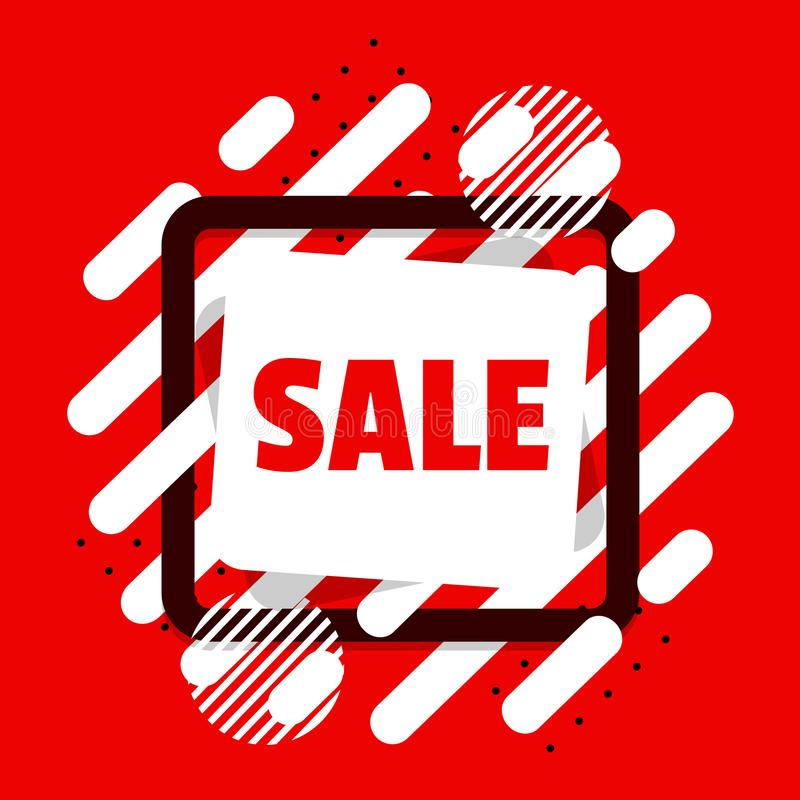 Red and White sale shapes royalty free illustration