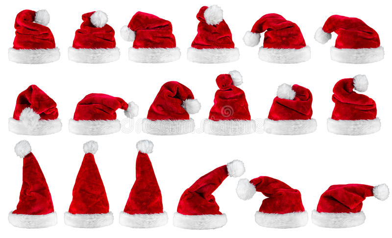 Red white santa claus hat collection royalty free stock images
