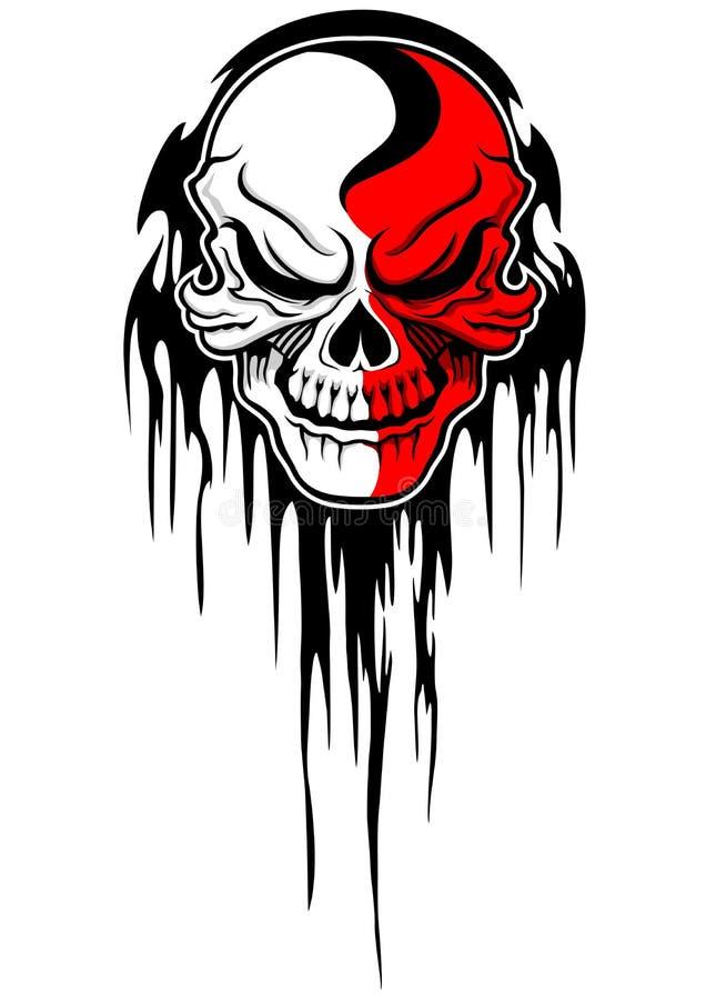 Red white skull stock illustration