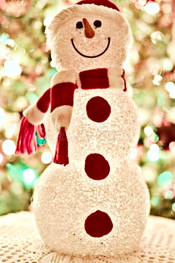 Red and White Snowman Standee Decor stock photo