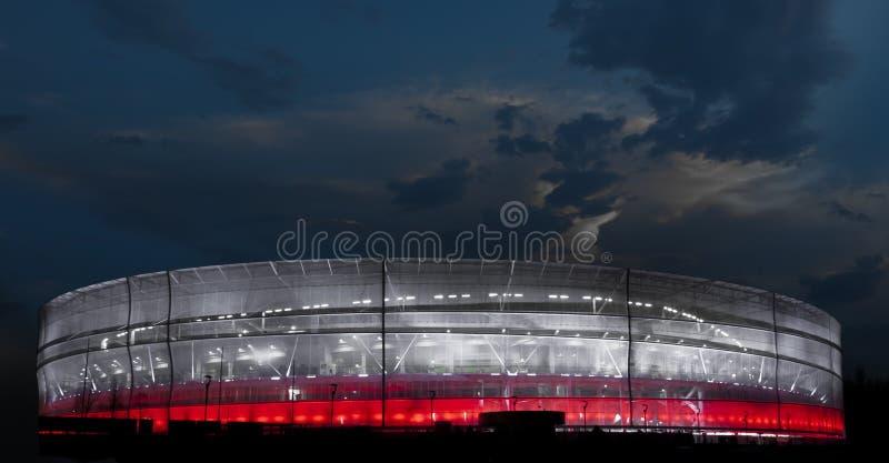 Red and white stadium stock photo
