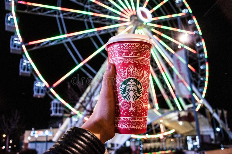 Red and White Starbucks Disposable Cup royalty free stock photography
