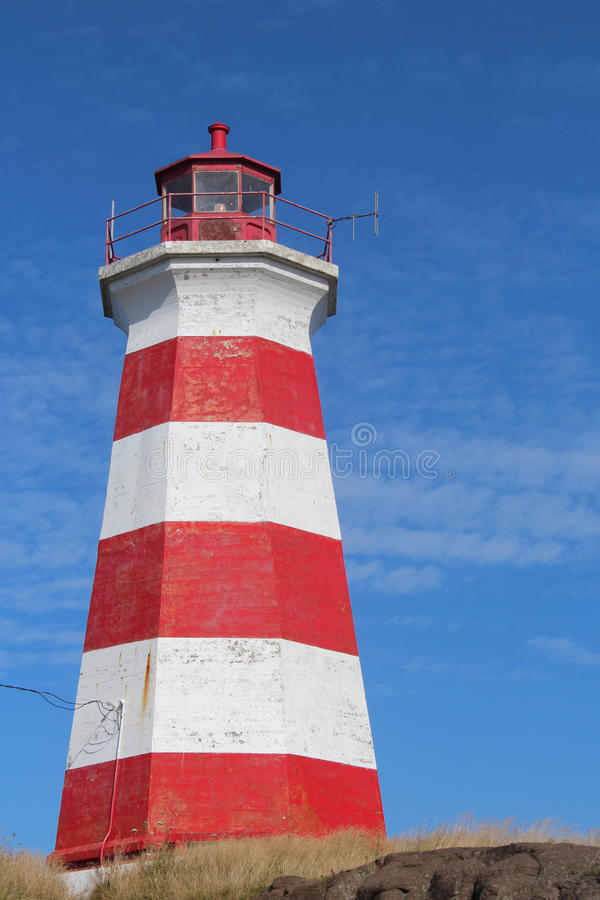 Red and white striped lighthouse stock photography