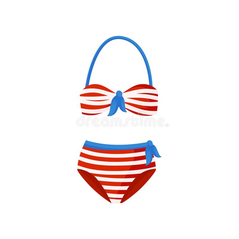 Red and white striped swimsuit with blue bows. Two-piece bathing suit. Vintage high-waisted bikini. Flat vector icon vector illustration
