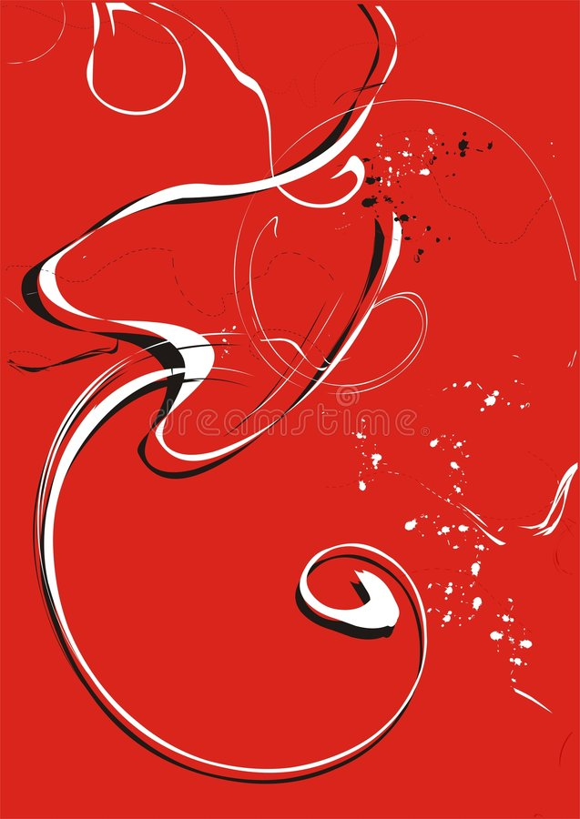 Red and white swirls vector illustration