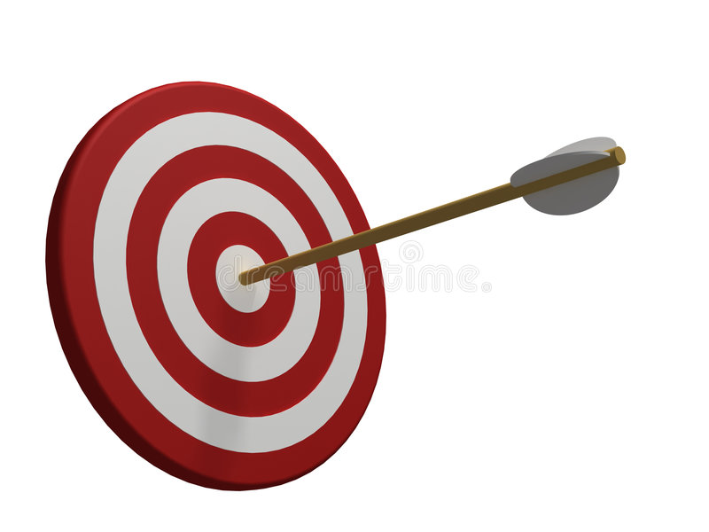 Red and white target with arrow isolated on white vector illustration
