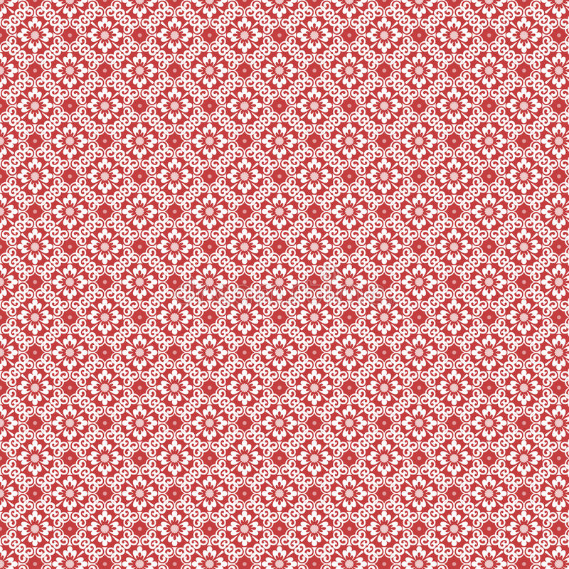 Red and white vintage damask repeat pattern. Featuring flowers and swirls. Has a Christmas or holiday feel royalty free stock photos